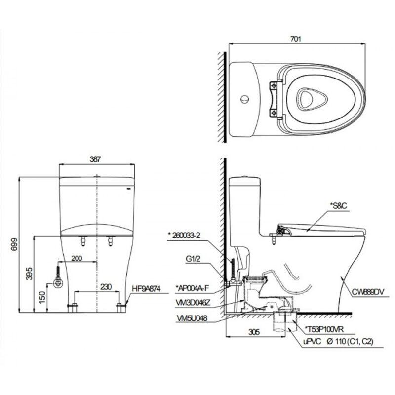 Bản vẽ kỹ thuật bồn cầu Toto C889D