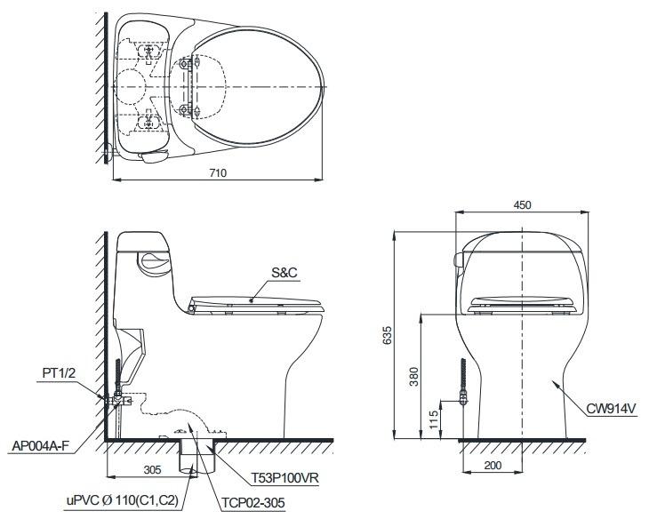 Bản vẽ bồn cầu Toto C914