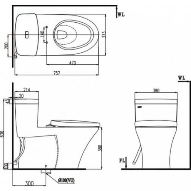 Bản thiết kế kỹ thuật của dòng sản phẩm Inax AC - 900VRN