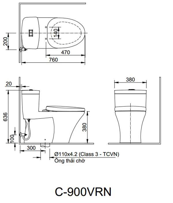 Bản thiết kế lắp đặt bồn cầu Inax AC-909VRN