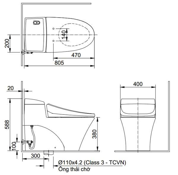 Bản vẽ bồn cầu Inax AC-1008VRN