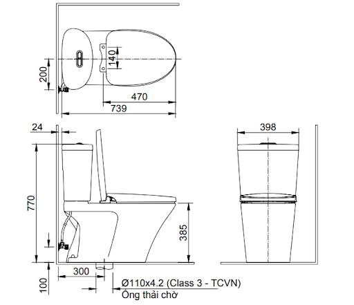 Bản vẽ kỹ thuật của bàn cầu InaxAC 700VAN2 khối