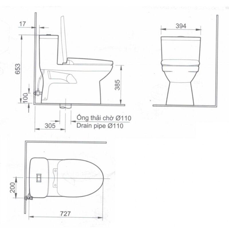 Bản vẽ kỹ thuật của bồn cầu InaxAC-969VN