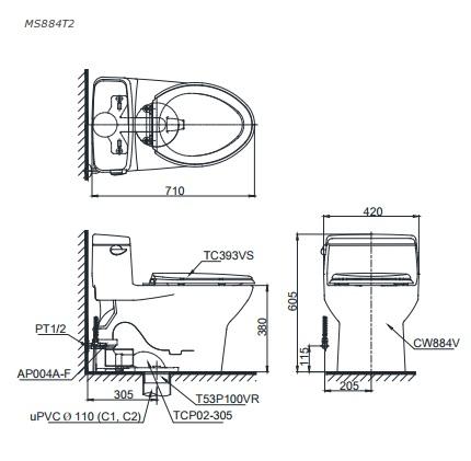 Bản vẽ thiết kế bồn cầu Toto MS884T2
