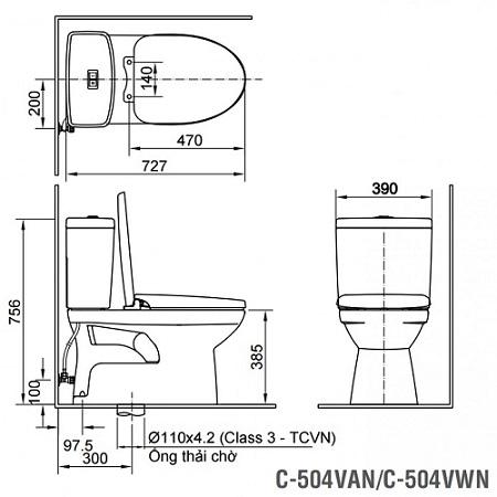 Bản vẽ thiết kế của bồn cầu Inax 2 khối C-504VWN