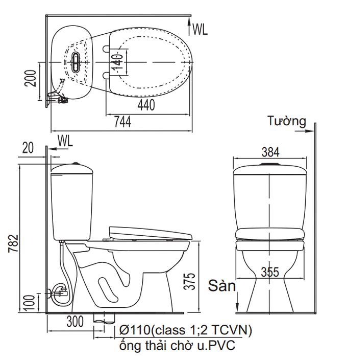 Bản vẽ thiết kế của bồn cầu Inax 306