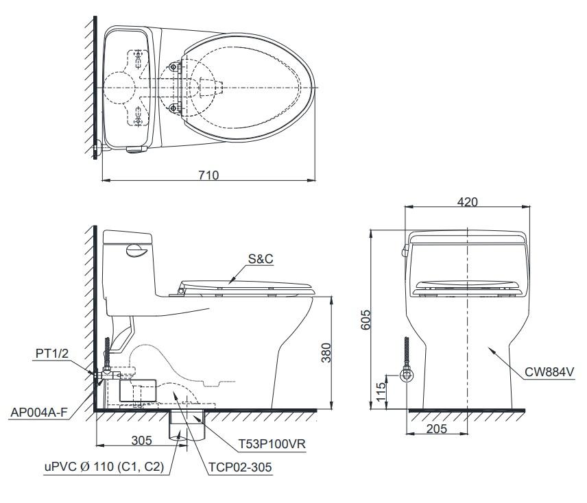 Bản vẽ thiết kế của sản phẩm bồn cầu C884 Toto