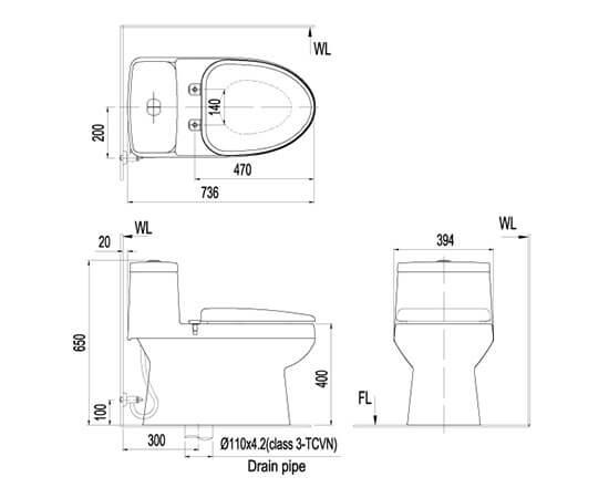 Bản vẽ kỹ thuật của bồn cầu Inax AC 939VN
