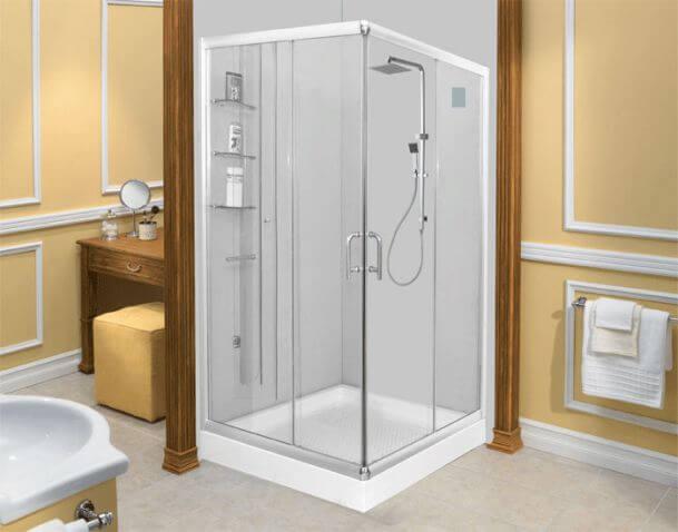 Bồn tắm đứng đế thấp thường được bố trí ở góc phòng