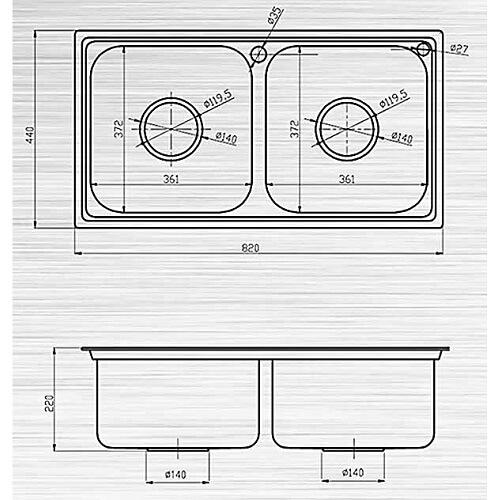 Chậu rửa bát đôi dạng nằm ngang là loại thông dụng nhất hiện nay