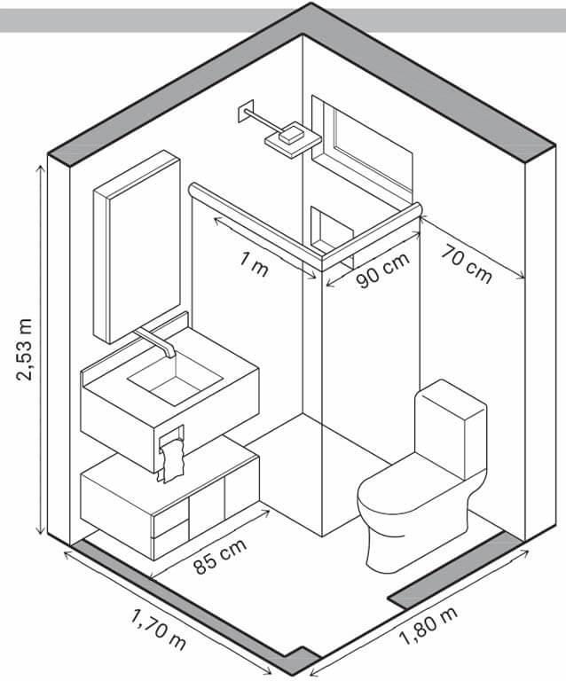 Bản thiết kế tiêu chuẩn của một nhà vệ sinh gia đình thông thường
