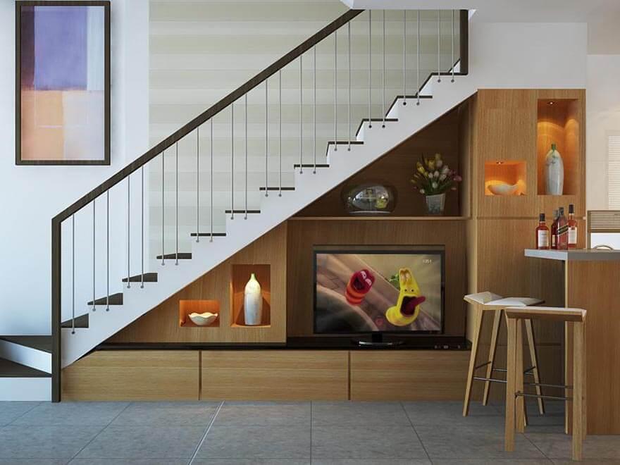 Tủ âm tường dưới gầm cầu thang còn là điểm nhấn cho căn nhà của bạn