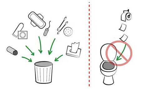 Không vứt rác thải, vật cứng vào bồn cầu