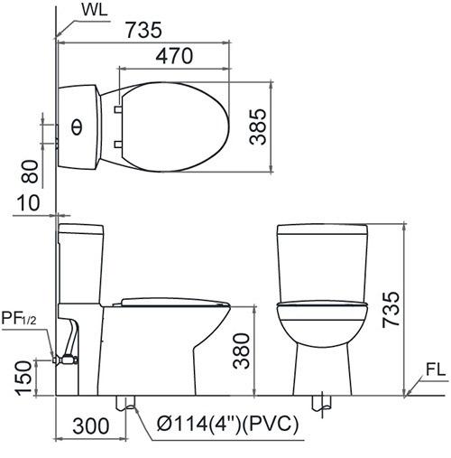 Thông số kỹ thuật của bồn cầu CAESAR T1140 PW