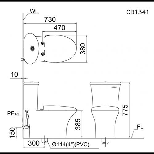 Thông số kỹ thuật của bồn cầu CAESAR CD1341