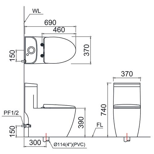Thông số kỹ thuật của bồn cầu CAESAR T1225-PW
