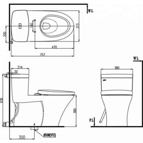 Thông số kỹ thuật của bồn cầu Inax AC-900VRN