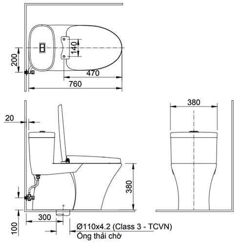 Thông tin cơ bản – thông số kỹ thuật của bệt Inax 959: