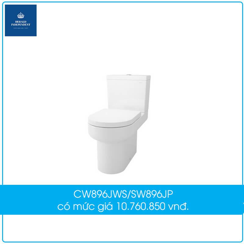 Bồn cầu TOTO 2 khối CW896JWS-SW896JP-896-8-TX277S-TC880SJ-TX215C có mức giá 10.760.850 vnđ.