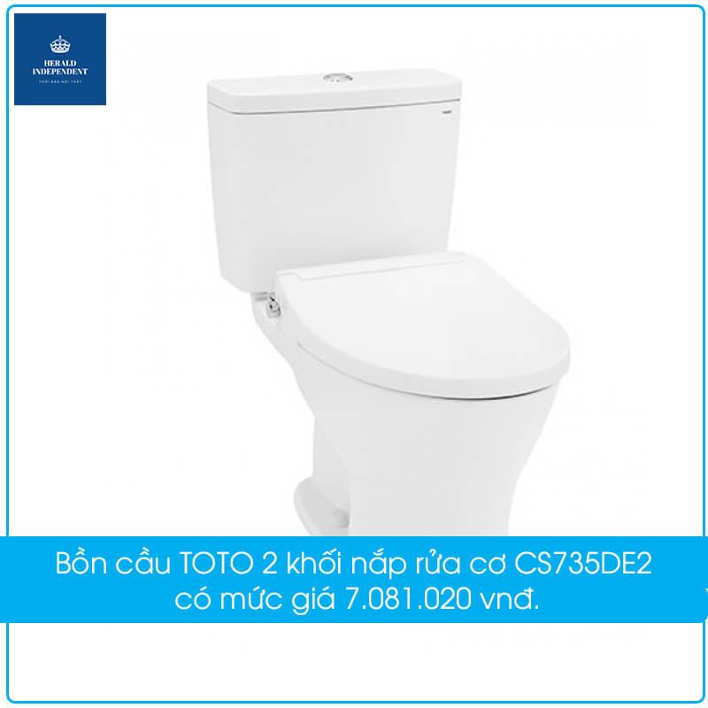 Bồn cầu TOTO 2 khối nắp rửa cơ CS735DE2 có mức giá 7.081.020 vnđ.
