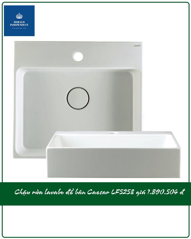 Chậu rửa lavabo để bàn Caesar LF5253 giá 1.890.000