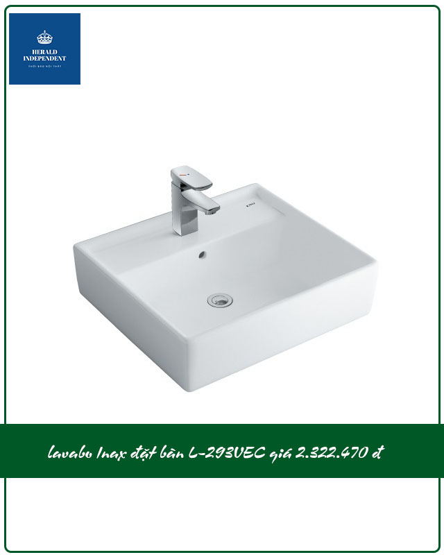 Chậu rửa mặt lavabo vuông Inax đặt bàn L-293VEC giá 2.322.000