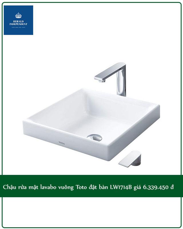 Chậu rửa mặt lavabo vuông Toto đặt bàn LW1714B giá 6.339.000