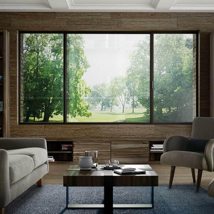 Cửa sổ trượt 3 cánh viền đen hiện đại cho phòng khách