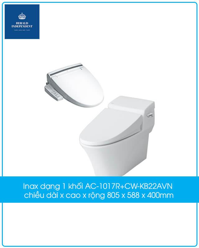 Inax dạng 1 khối AC-1017R+CW-KB22AVN có kích thước chiều dài x cao x rộng 805 x 588 x 400mm