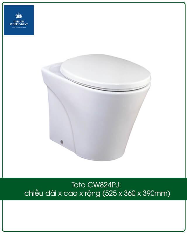 Kích thước bồn cầu bệt vệ sinh dạng treo tường Toto CW824PJ chiều dài x cao x rộng 525 x 360 x 390mm