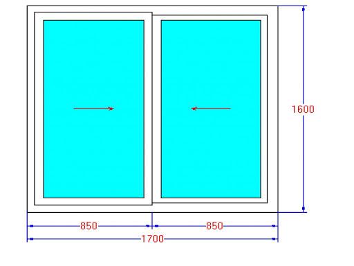 Kích thước cửa sổ 2 cánh trượt