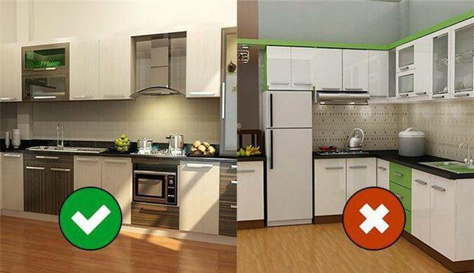 Một số điều cần tránh theo phong thủy khi chọn kích thước tủ bếp và bày trí phòng bếp