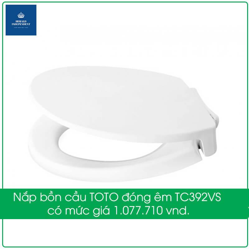 Nắp bồn cầu TOTO đóng êm TC392VS có mức giá 1.077.710 vnd.