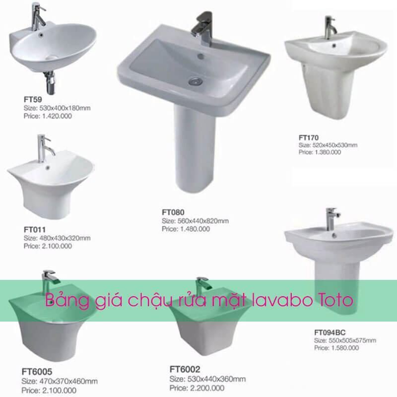 Bảng giá chậu rửa mặt lavabo Toto