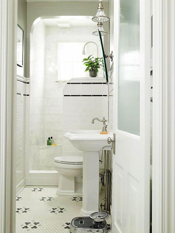 Bồn rửa nhỏ có góc tắm mở