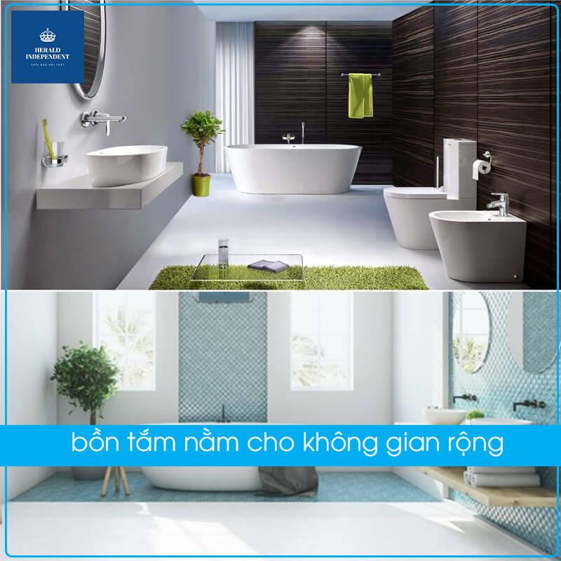 bồn tắm nằm cho không gian rộng