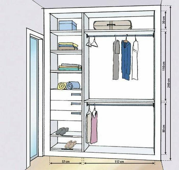Kích thước kệ và ngăn kéo khi thiết kế của tủ quần áo đẹp