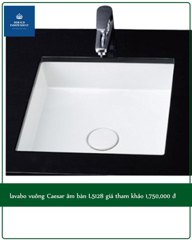 lavabo vuông Caesar âm bàn L5128 giá tham khảo 1,750,000 đ
