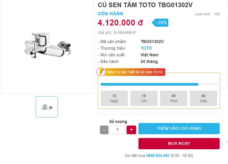 bảng giá Toto TBG01302V