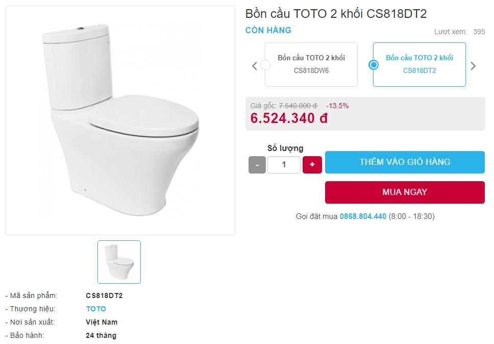 Giá bán bồn cầu TOTO 2 khối CS818DT2