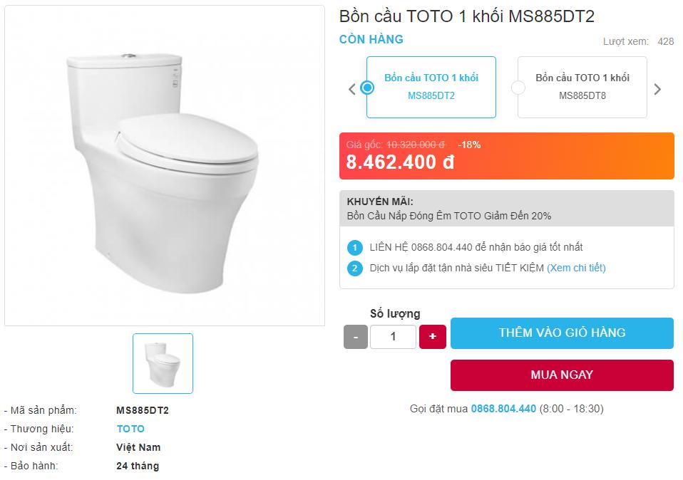 Giá bán bồn cầu TOTO MS885DT2 một khối