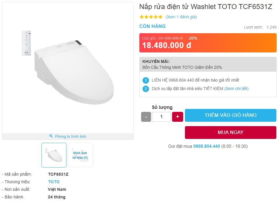 Giá bán nắp rửa điện tử WASHLET TOTO TCF6531Z