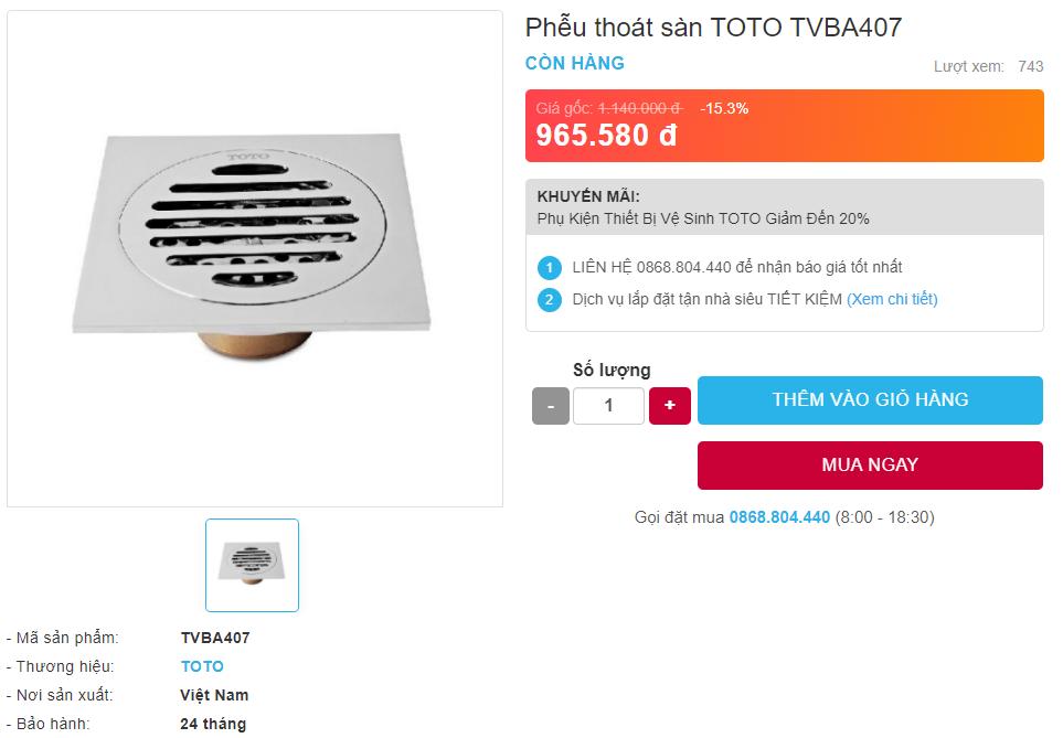 Giá bán nắp rửa điện tử Phễu Thoát Sàn TOTO TVBA407