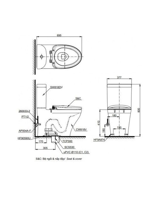 Thông số kỹ thuật bồn cầu TOTO 2 khối CS818DT8