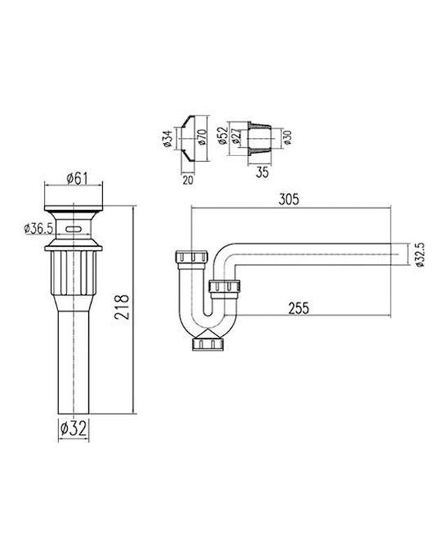 Thông số kỹ thuật ống thải chữ P Inax A-675PV