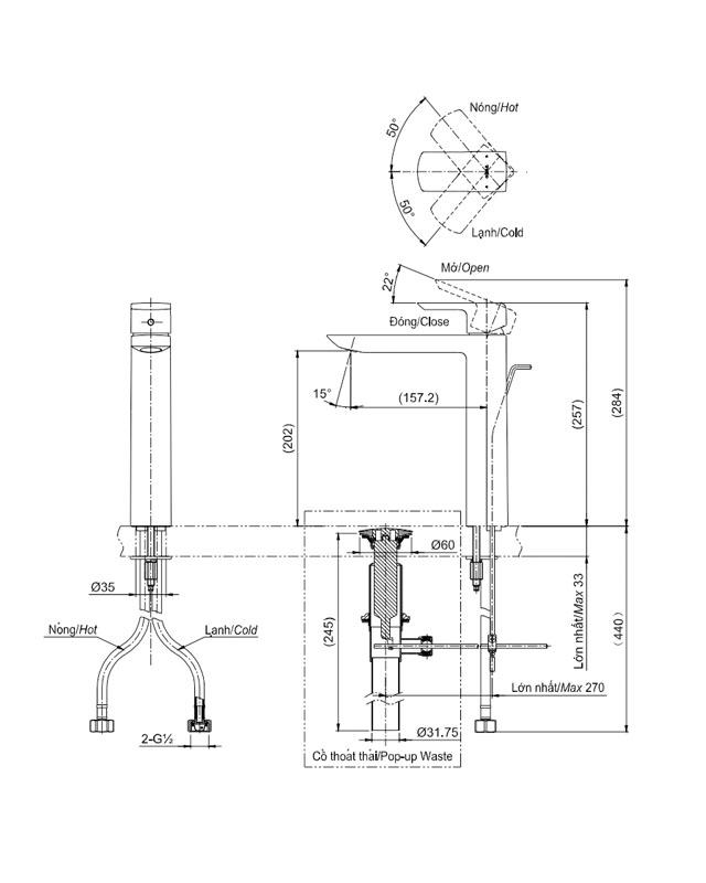 Thông số kỹ thuật vòi chậu Toto TLG02307V nóng lạnh