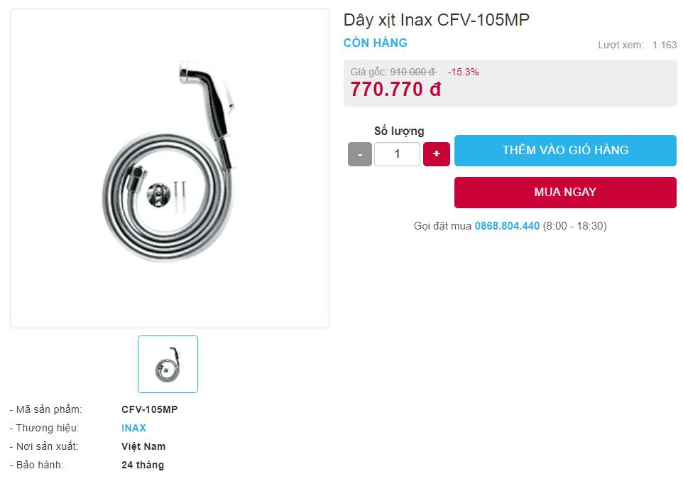 Giá bán vòi xịt CFV-105MP toilet của Inax