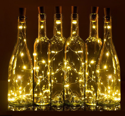 Làm 1 chai rượu hiển thị nguồn sáng đẹp mắt